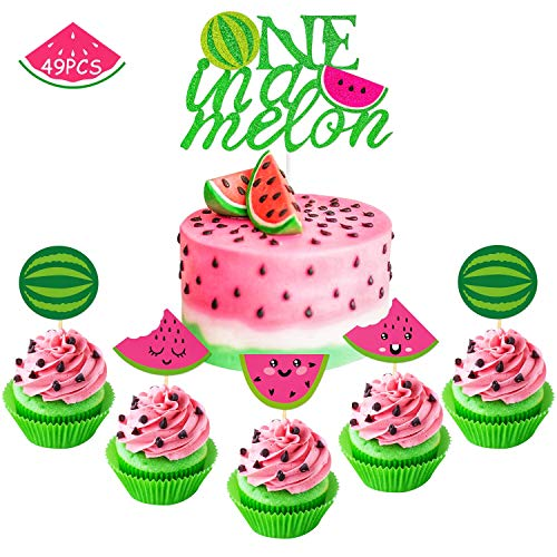 Watermelon Cupcake Topper One in A Melon Cake Topper Melon Themed Baby Girl 1st Birthday Party Supplies Summer Tropical Fruit Picks Decorations Set of 49 -
