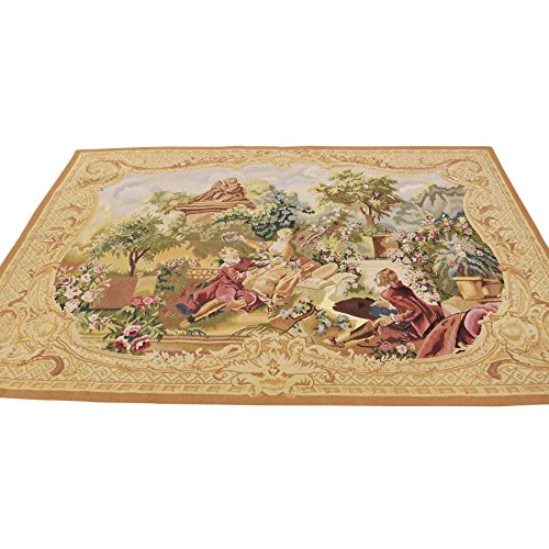 Hand Woven Aubusson Tapestry (Hand Woven Aubusson Tapestry 27 Different Color Shades Rug (4'9''x6'4''))
