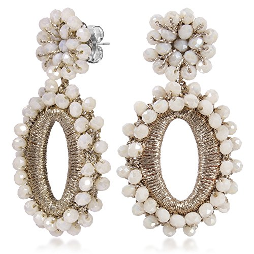 WOWSHOW Chandelier Oval Bling Cluster Beaded Drop Dangle Earrings Glass Beads Earrings Fashion Handmade Jewelry for Women Beige