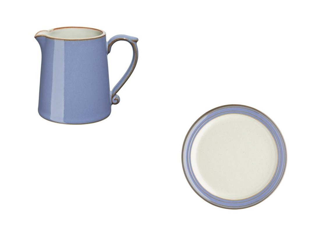 Denby Heritage Fountain Small Jug and Tea Plate, Set of 2
