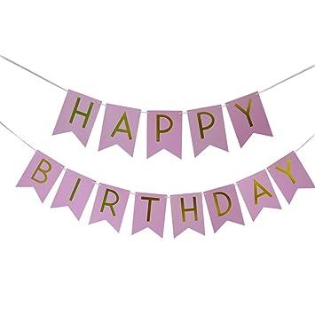 amazon happy birthdayバナーグリッターゴールド文字 ピンク背景happy