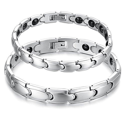 His or Hers Matching Set Couple Titanium Magnetic Bracelet Anti-fatigue Anti-radiation in a Gift Box (His)