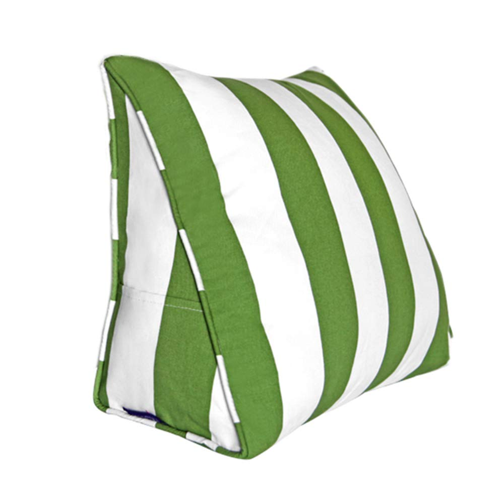 Lumbar Pillow Cailin, Cotton Triangle Cushion, Pillow, Red and White Stripes, Fabric (Color : Green, Size : 451540CM)