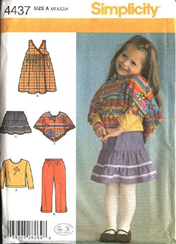 Simplicity 4437 Toddlers Pants Skirt Jumper Poncho Top Sewing Pattern Sizes 1/2-4