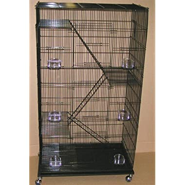 New Economical Extra Large 5 Levels Ferret Chinchilla Sugar Glider Wire Cage For Small Animal or Bird *30 Length x 18 Depth x 55 Height With Wheel *Black*