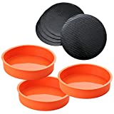 Set of 3 Round Silicone Mold Cake Baking Pans Includes 5 Laminated Grease Proof Cardboard Cake Circles