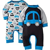 Gerber Baby Boys' 2 Pack Coverall, Car, 3-6 Months
