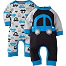 Gerber Boys' 2 Pack Coveralls, Car, 0-3 Months