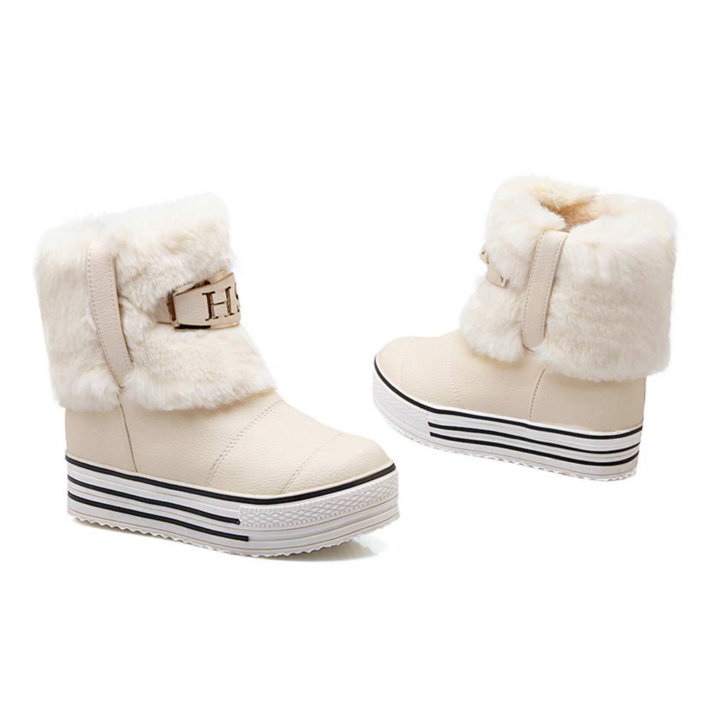 Winter Thermische Schnee Stiefel Frauen FüR Frauen Stiefel Mode Warme Pelz Schuhe Damen Wasserdichte Hohe Spitze HöHe Zunehmende Dicke Plattform Stiefel d7049f