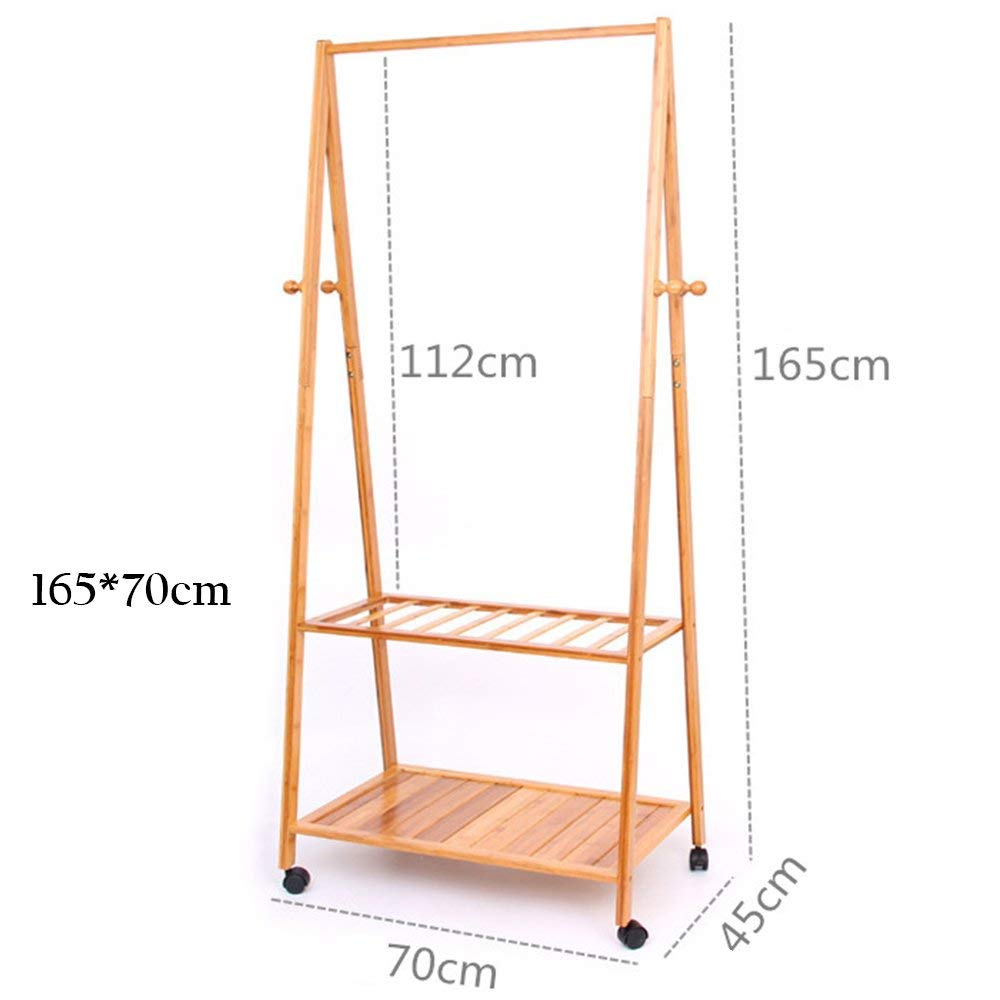 16570cm DYR Solid Wood Floor Multi-Purpose Coat Hanger can Move Stable and Durable Shelves (Dimensions  165  70 cm)