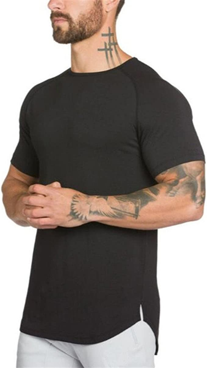 Men Slim Fit Short Sleeve Gym Muscle Tee Casual Solid T-shirt Tops Blouse
