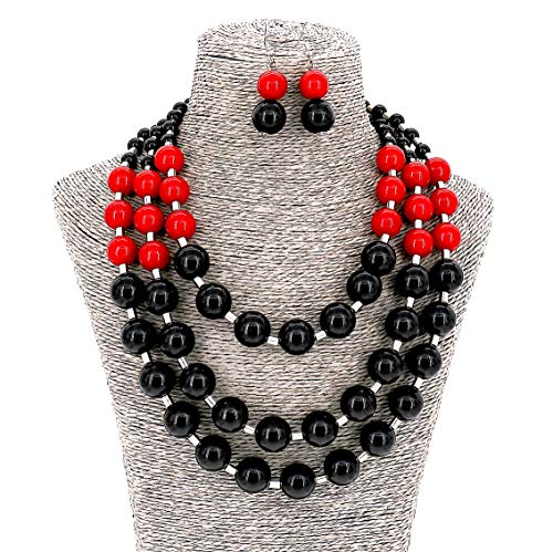 Women Ladies Fashion Jewelry Long Acrylic Beads Multi Layer Necklace and Earrings Set (Black x Red)