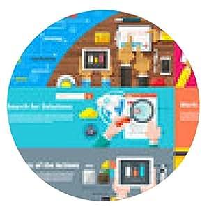 my-puzzle-design alfombrilla de ratón Equipo creativo. joven equipo de diseño trabaja en el escritorio - ronda - 20cm
