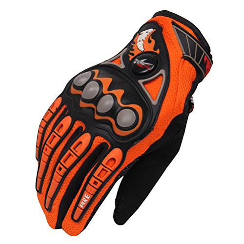 Hank Men's Knuckle Breathable Lining Joint Protect Motorcycle Cycling Motocross Racing Sports Gloves Winter,Orange