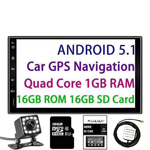 Panlelo Android 5.1 Car Stereo 7 Inch 2 Din Head Unit Quad Core RAM 1G ROM 16G GPS Navigation Auto Audio Radio 1080P Video Player Built in Wi-Fi BT AM/FM/RDS Steering Wheel Control (Units Ford Head)