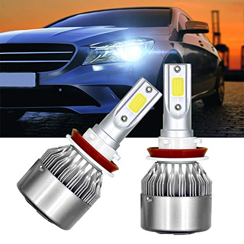 Cynemo C6 H11/H9/H8 Led Headlight Bulbs,36W 3800LM/Bulb 6000K Cool White Bulbs for Low Beam/Fog Light All-in-One Head-Lamps Conversion Kit Waterproof(1pair,Pack of 2) Aluminum Dash Kit 13 Piece