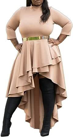 VERWIN Plus Size Dress Stand Collar Floor-Length Asymmetric Women's Dress Bodycon Dress