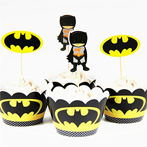 Astra Gourmet 24 Pack Batman Superhero Cupcake Toppers Wrappers Party Decoration Party Supplies for Birthday Party Superhero Cake decoration]()