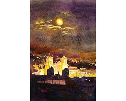 Watercolor painting of Cathedral on the Plaza de Armas- Cusco - Valley Sun Plaza