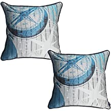 """WOMHOPE Set of 2 pcs - 18"""" Ocean Park Theme Nautical HD - Satin Polyester Square Throw Pillow Case Decorative Accent Cushion Cover Pillowcase Cushion Case for Sofa,Bed (Compass (Set of 2 pcs))"""