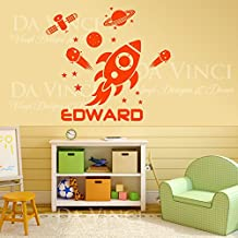 """Space Rocket Planets Solar System Satelit Custom Name Vinyl Wall Decal Sticker (SMALL: 20"""" x 21"""" inches)"""