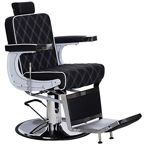 BarberPub Heavy Duty Metal Vintage Barber Chair All Purpose Hydraulic Recline Salon Beauty Spa Styling Equipment 3825 (Black)
