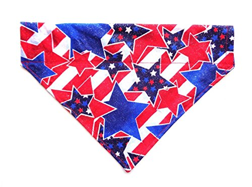 Reversible Cat Dog Bandana Slip Over the Collar White Stars on Red Pet Neckwear Accessories