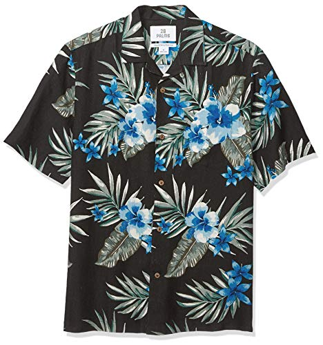 Mens Shirt Hibiscus Aloha - 28 Palms Men's Relaxed-Fit Silk/Linen Tropical Hawaiian Shirt, Black/Blue Hibiscus Floral, Large