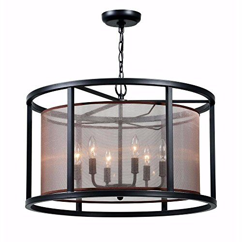 World Imports WI-4356-88 Aria Collection 6-Light Oil Rubbed Bronze Indoor Pendant ()
