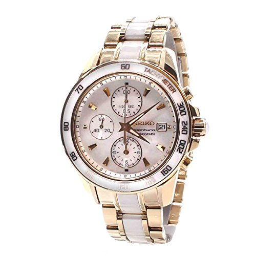 Seiko Sportura Chronograph Mother of Pearl Dial Gold-tone and White Ceramic Mens Watch SNDX02P1 by Seiko Watches
