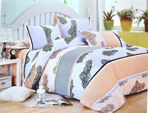 Todd Linen Tree Repeat Patern 3 Pcs Queen Set 1 Duvet Cover + 2 Pillow Case Bedding Set