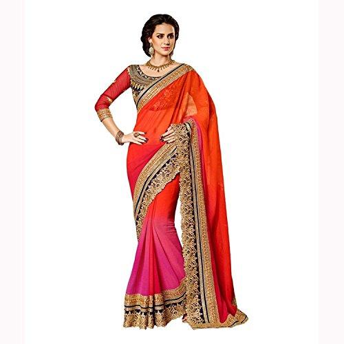Fab Glory Women's Chiffon Designer Saree With Un-Stitched Blouse Free Size (Designer Chiffon Sarees)