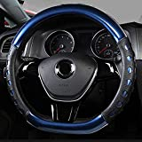 Amuahua D-Shaped Genuine Leather Car Steering Wheel Cover Universal 15 inch/38CM Breathable for Auto/Truck/SUV/Van (Blue)
