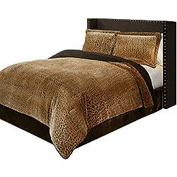 Suntex Designs Fraiche Maison C1407020-SYQ-CHT Cheetah 3-Piece Comforter Set, Queen