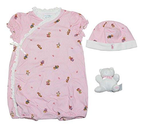 Ribbon Trim Placket - Ralph Lauren Baby Girls Bear Patterns Gift Box Set (24M, White/Pink)