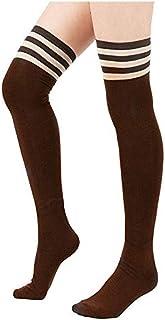 Spring Fever Women's Stripe Tube Dresses High Socks 2 Pairs-Black & Grey