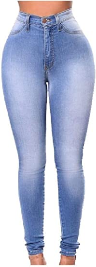 AngelSpace Women's Hi-waist Skinny Elastic Hip-uP Washed Jeans Trousers