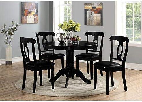 Amazon Com Angel Line 5 Piece Lindsey Dining Set Black Furniture Decor
