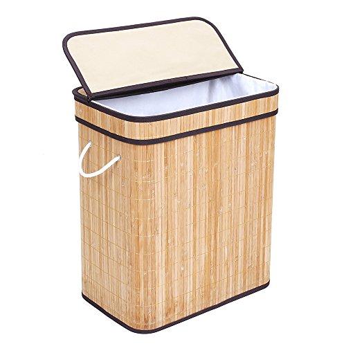 Songmics XL 72 L Bambus Wäschekorb faltbar Wäschebox Wäschesammler mit Klappdeckel Tragelaschen 40 x 60 x 30 cm LCB40Y