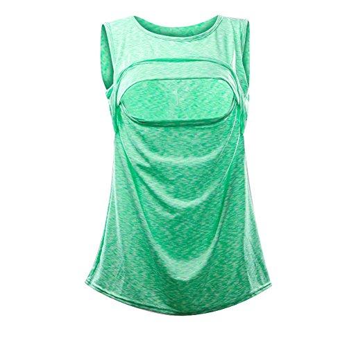 Vest senza Verde Canottiere Traspirante Abbigliamento Fulision Allattamento Brillante Allattamento donna maniche Top qRZBWw