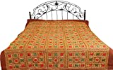Copper-Brown Bedspread from Kutch with Embroidered Flowers and Mirrors - Pure Cotton