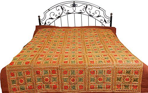 Copper-Brown Bedspread from Kutch with Embroidered Flowers and Mirrors - Pure Cotton by Exotic India