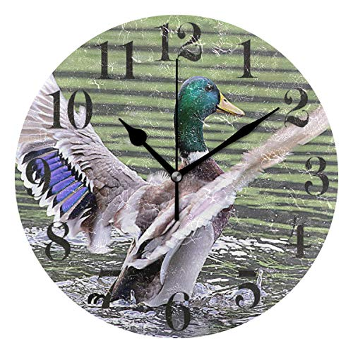 Mallard Duck Silent Non Ticking Wall Clock,Decorative Round 9.45