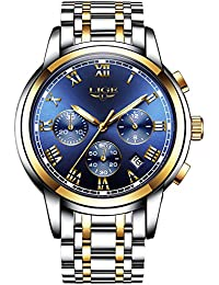 Men's Watches Luxury Steel Band Quartz Analog Wrist Watches with Chronograph Waterproof Date Blue Dial