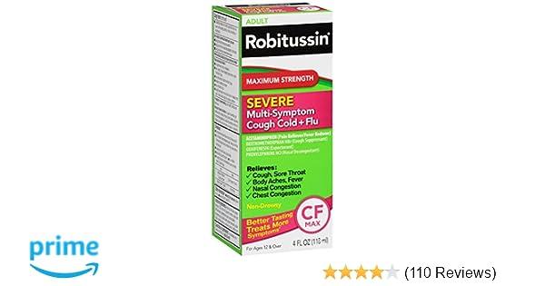 Robitussin Severe CF Maximum Strength Cough, Cold, & Flu Medicine (4 fl   oz  Bottle)