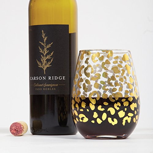8 Oak Lane EC010LEP Leopard Stemless Wine Glass, 20 oz, ()