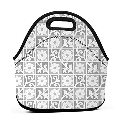 Removable Shoulder Strap Silver,Floral Ornaments Blooming Flowers in Squares Royal Abstract Themed Pattern Art Image,White Grey,lunch bag set for women - Flower Pattern Removable Strap