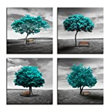 living room themes Wall Art Canvas Print Original design Pattern Aquamarine Blue Color Trees Modern Landscape Framed Wall Decor - 4 Panels Black And White style Blue Theme For Living Room Bedroom Office Decorations Gift