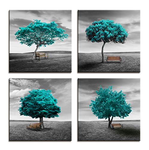 Wall Art Canvas Print Original design Pattern Aquamarine Blue Color Trees Modern Landscape Framed Wall Decor - 4 Panels Black And White style Blue Theme For Living Room Bedroom Office Decorations Gift ()