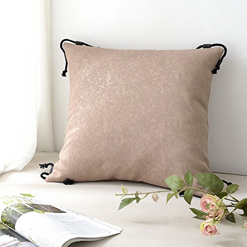 Throw Pillow Cover for Patio Couch - PONY DANCE Home Decoration Cotton Embroidered Lumber Cushion Cover with Rope Pillowcase for Chair Hidden Zipper Design, Pillow not include, 18